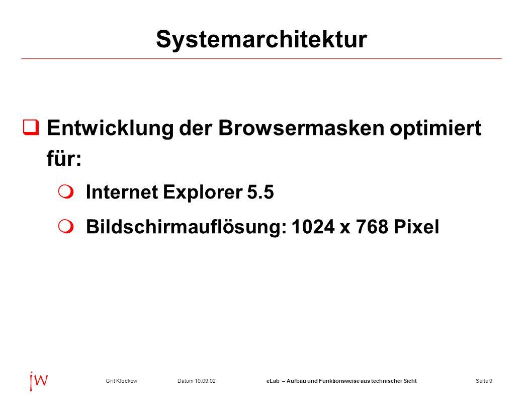 Systemarchitektur Entwicklung der Browsermasken optimiert für: