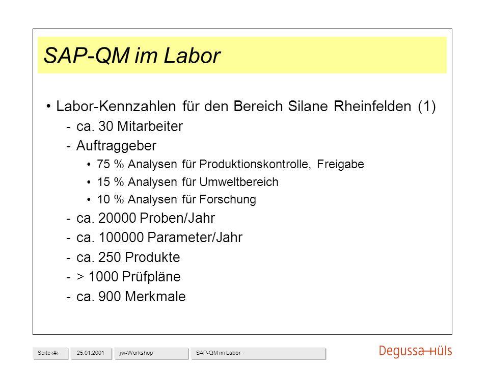 SAP-QM im Labor Labor-Kennzahlen für den Bereich Silane Rheinfelden (1) ca. 30 Mitarbeiter. Auftraggeber.