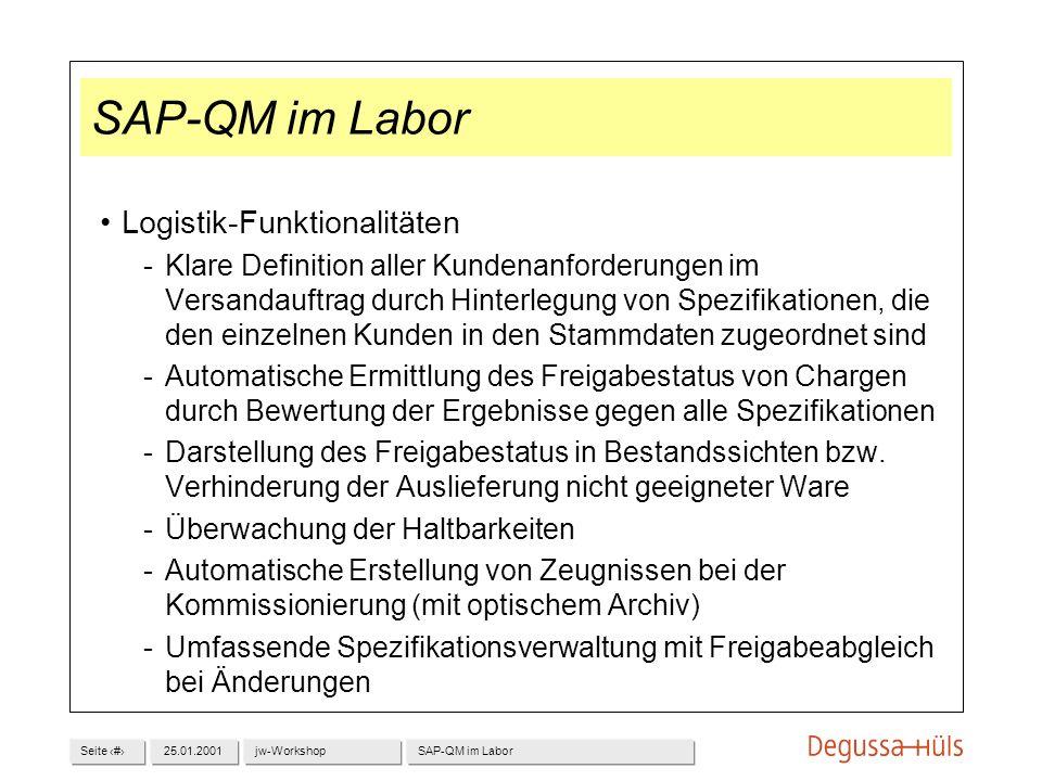 SAP-QM im Labor Logistik-Funktionalitäten
