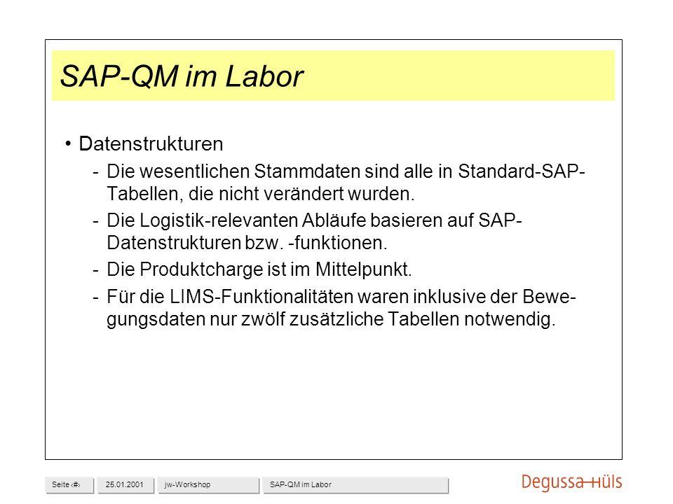 SAP-QM im Labor Datenstrukturen