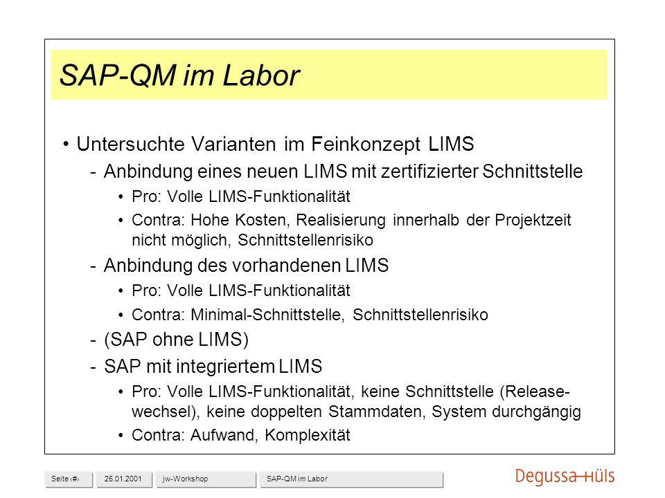 SAP-QM im Labor Untersuchte Varianten im Feinkonzept LIMS