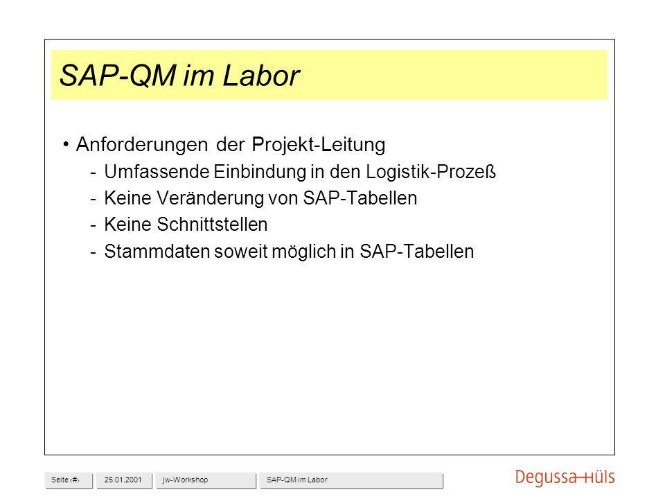 SAP-QM im Labor Anforderungen der Projekt-Leitung