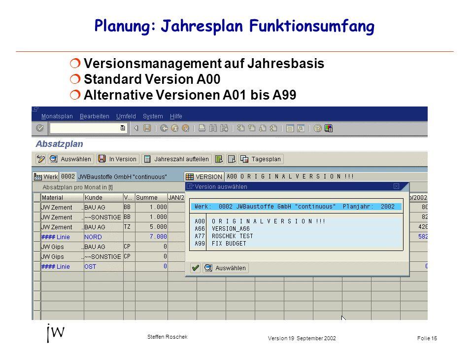 Planung: Jahresplan Funktionsumfang