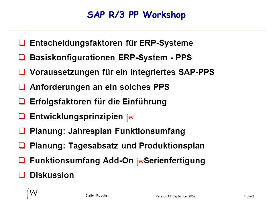 SAP R/3 PP Workshop Entscheidungsfaktoren für ERP-Systeme