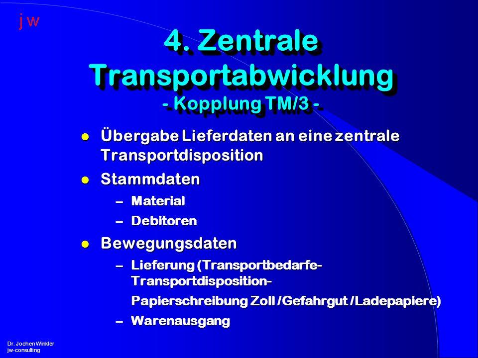 4. Zentrale Transportabwicklung - Kopplung TM/3 -