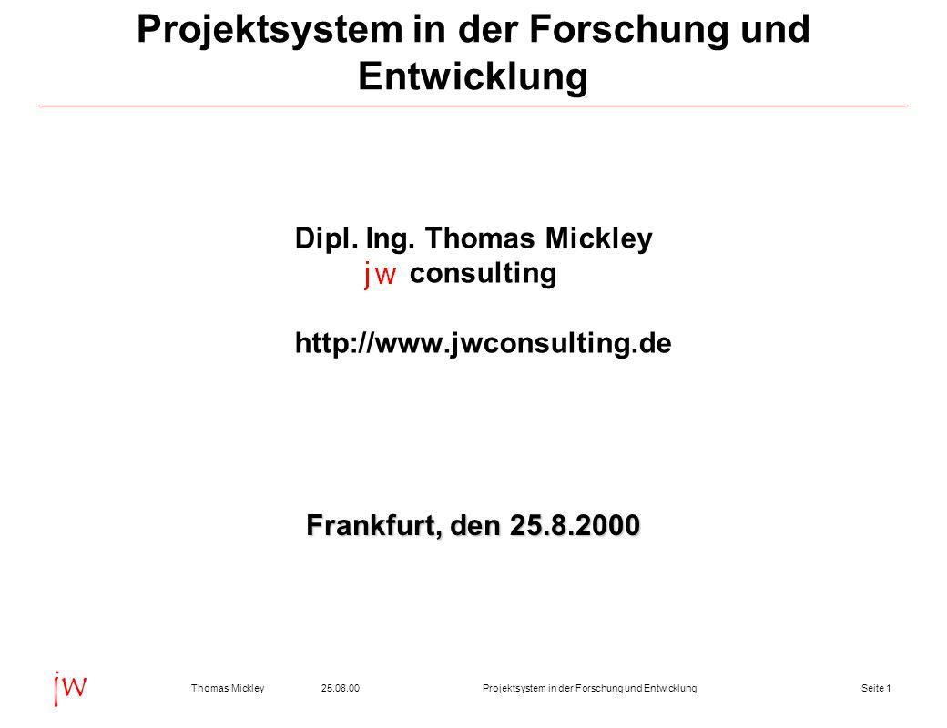 Projektsystem in der Forschung und Entwicklung