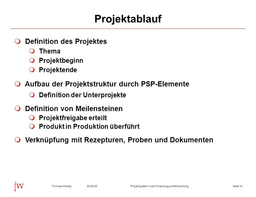 Projektablauf Definition des Projektes