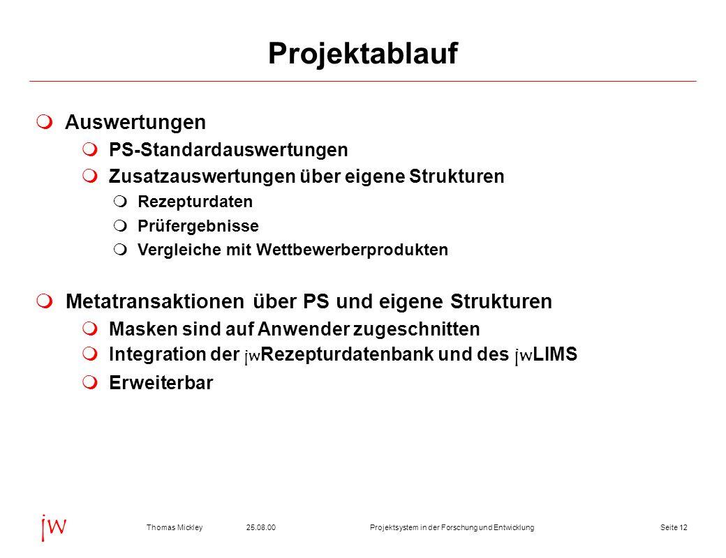 Projektablauf Auswertungen