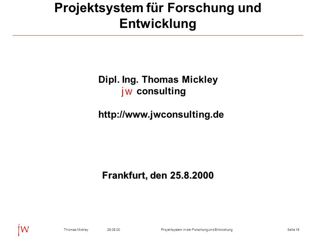 Projektsystem für Forschung und Entwicklung