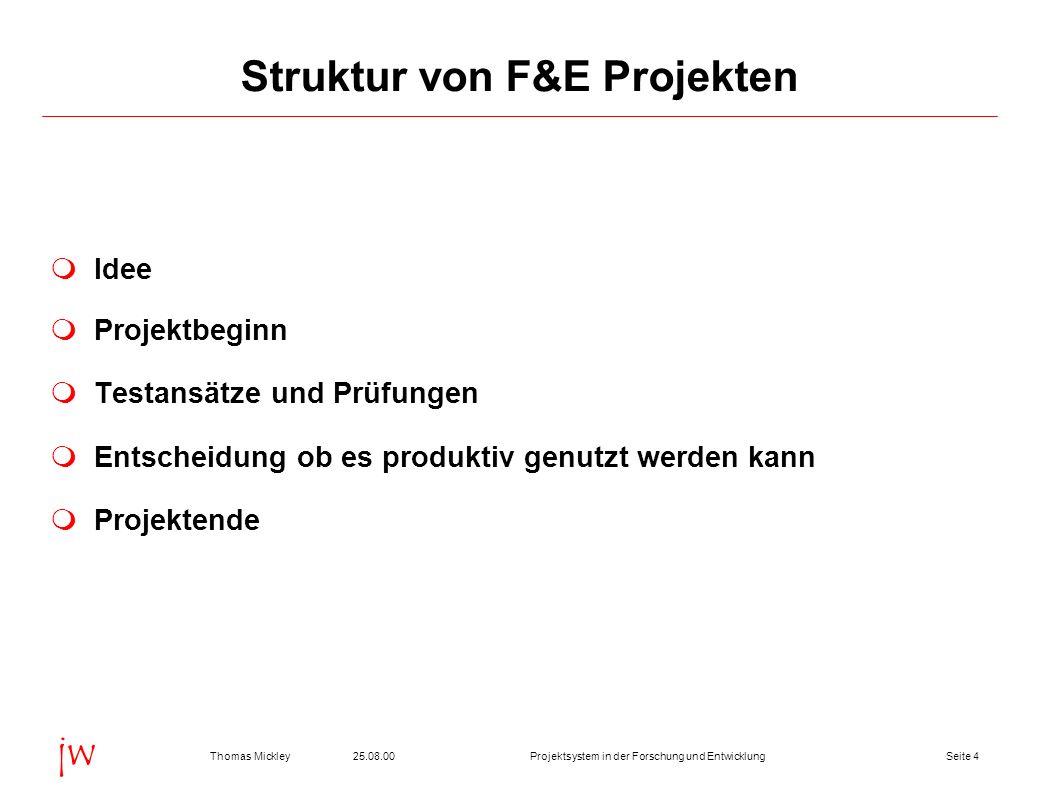 Struktur von F&E Projekten