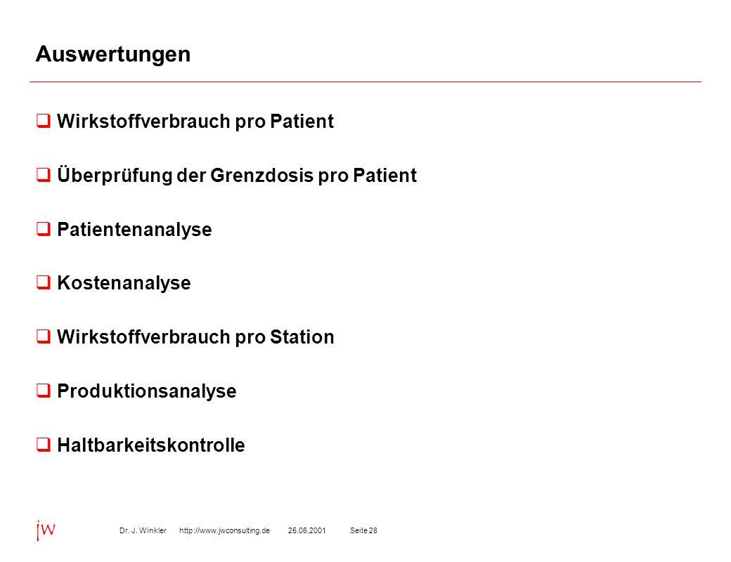 Auswertungen Wirkstoffverbrauch pro Patient