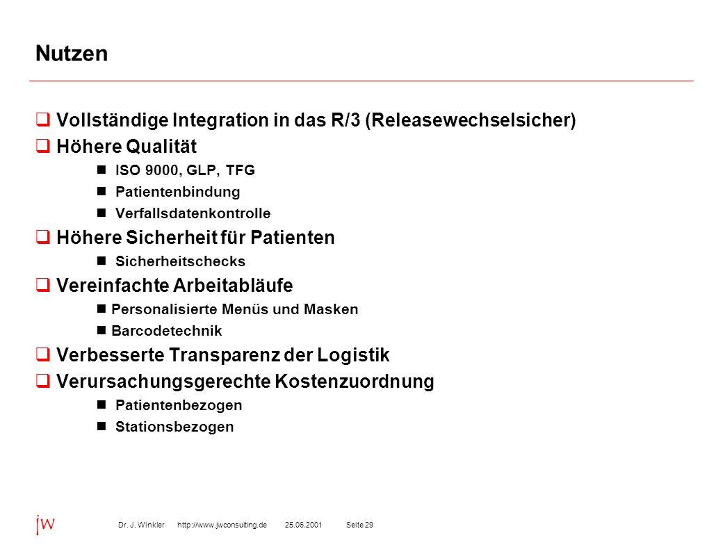 Nutzen Vollständige Integration in das R/3 (Releasewechselsicher)