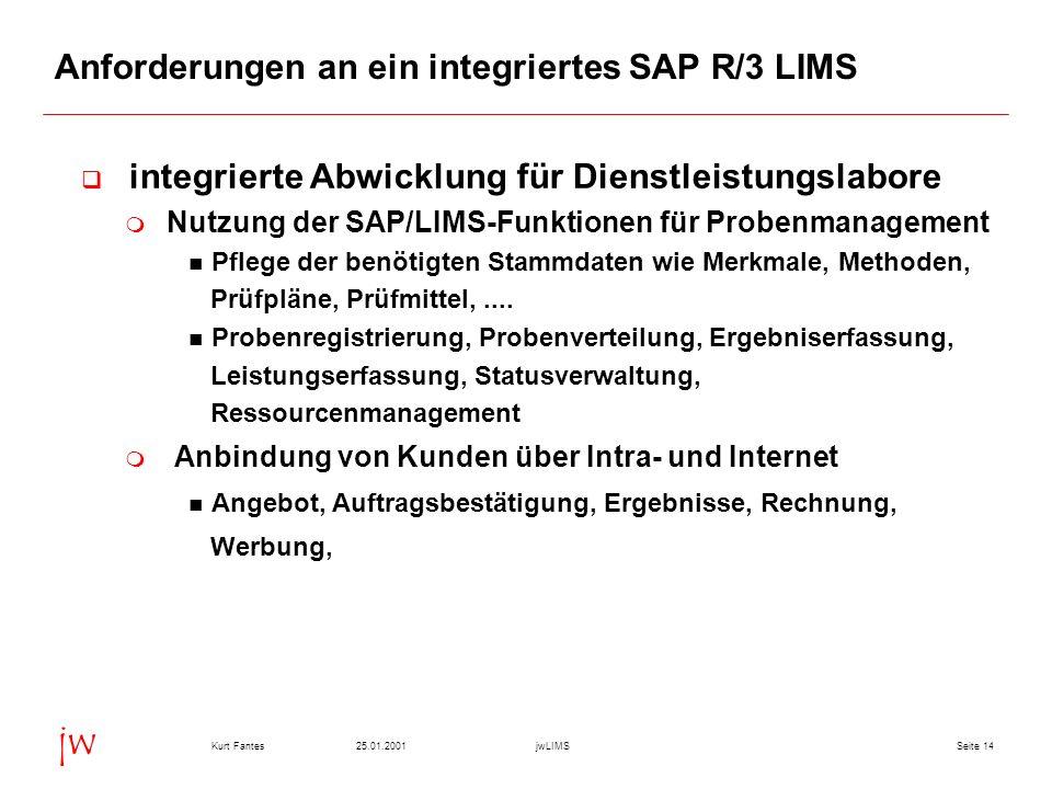 Anforderungen an ein integriertes SAP R/3 LIMS
