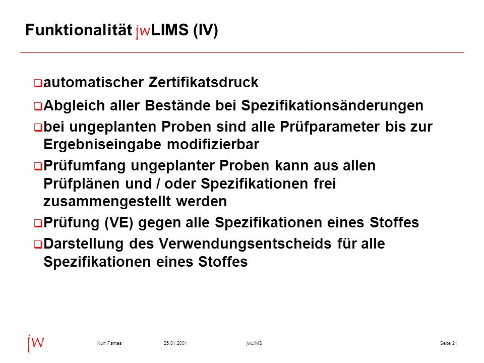 Funktionalität jwLIMS (IV)