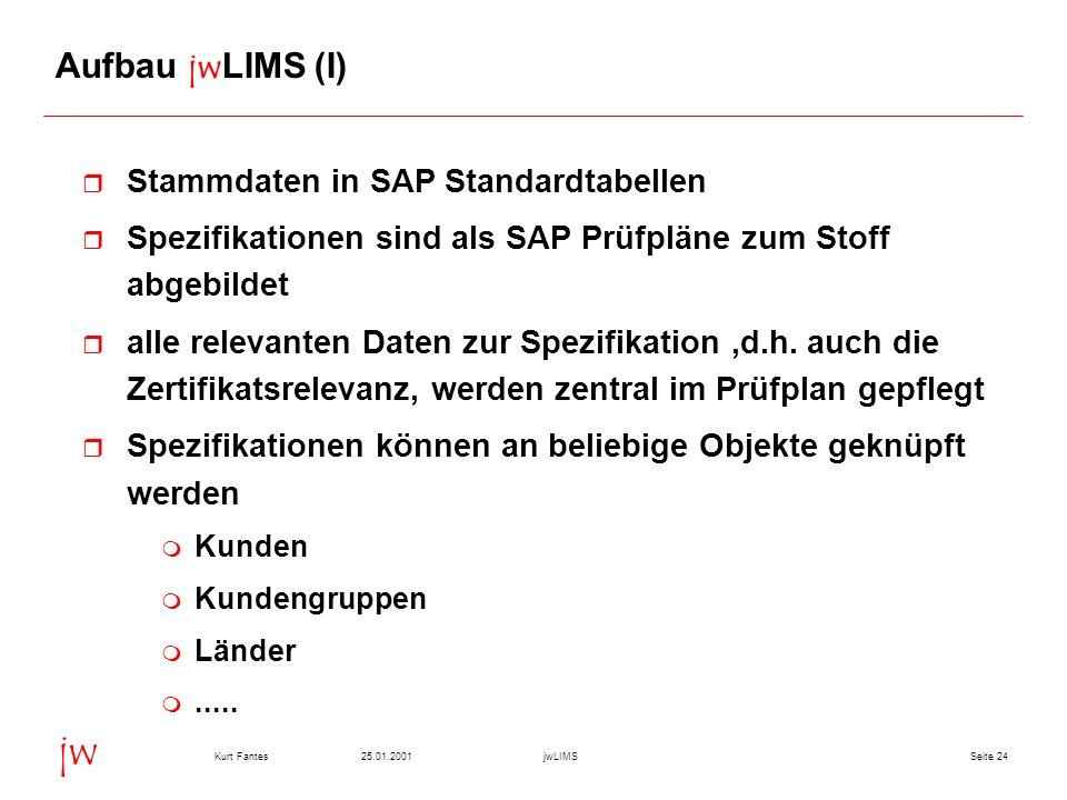 Aufbau jwLIMS (I) Stammdaten in SAP Standardtabellen