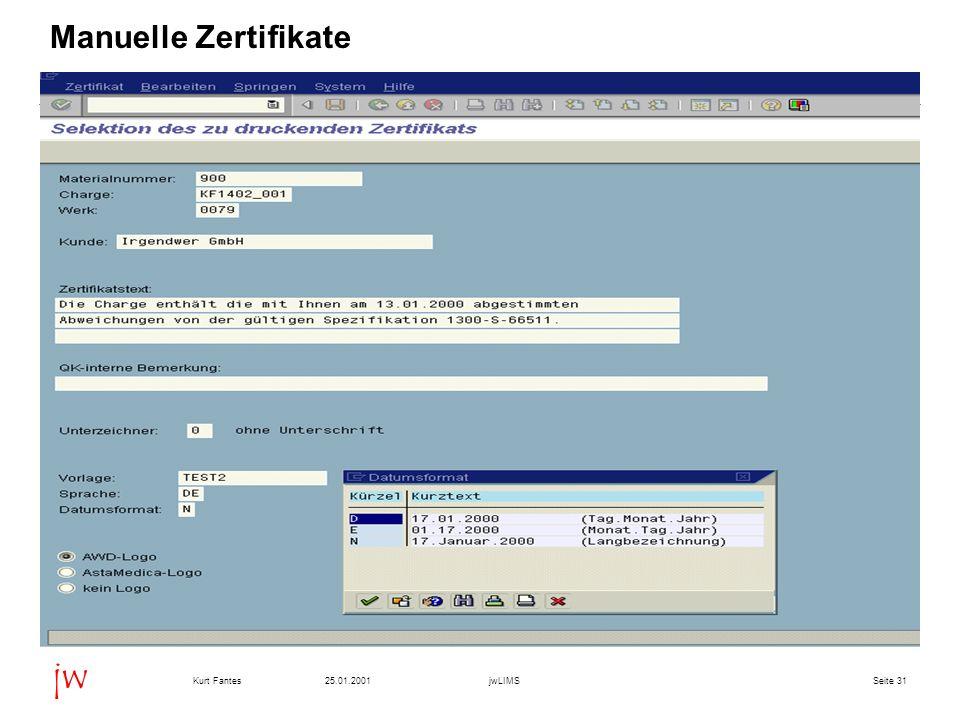 Manuelle Zertifikate