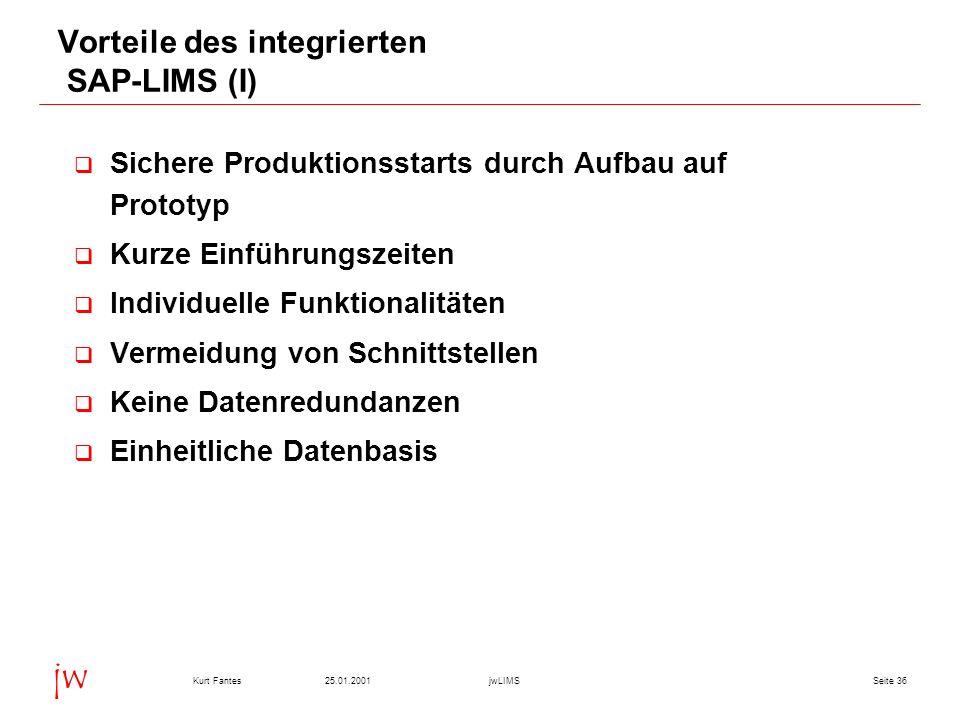 Vorteile des integrierten SAP-LIMS (I)