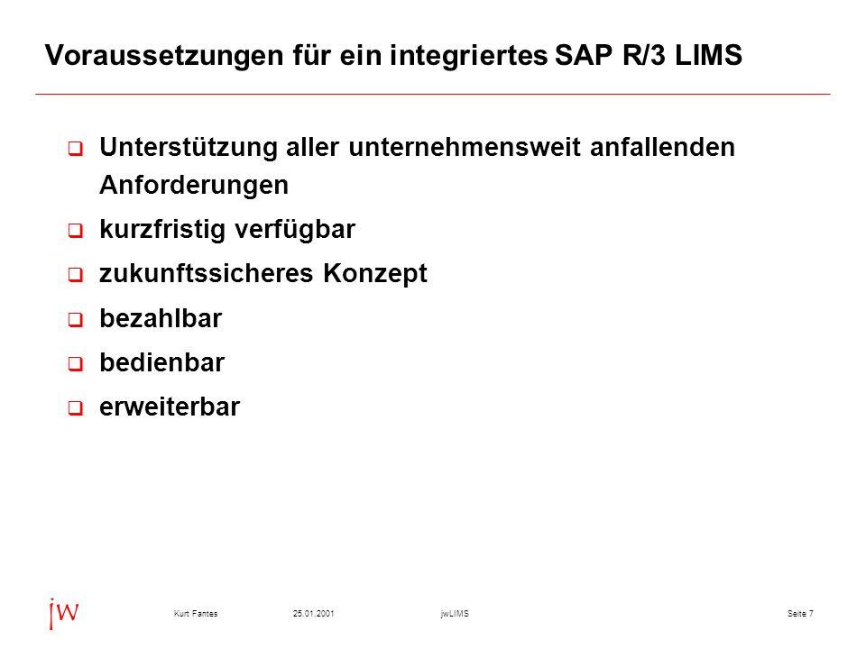 Voraussetzungen für ein integriertes SAP R/3 LIMS