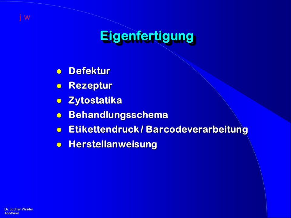Eigenfertigung Defektur Rezeptur Zytostatika Behandlungsschema