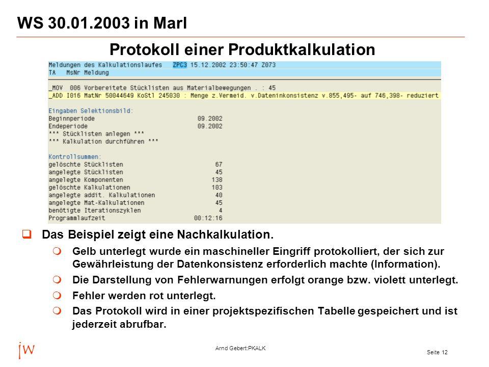 Protokoll einer Produktkalkulation