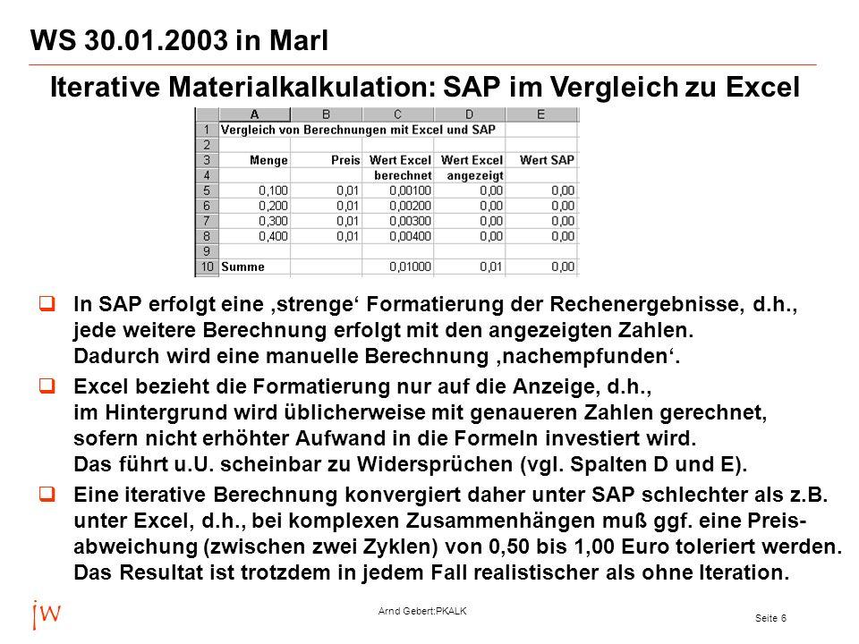 Iterative Materialkalkulation: SAP im Vergleich zu Excel