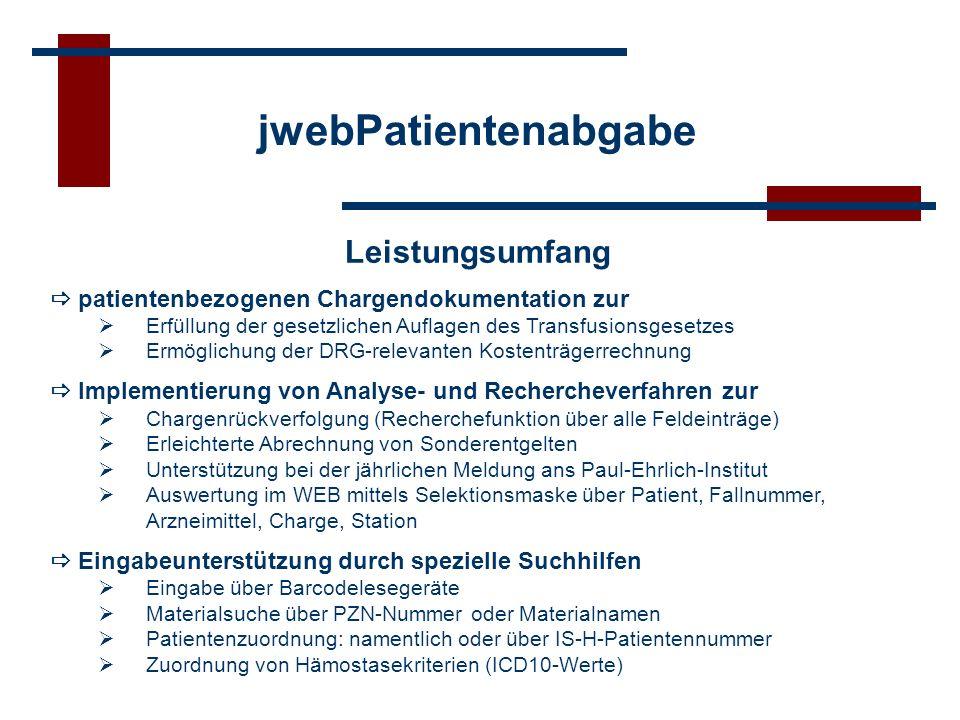 jwebPatientenabgabe Leistungsumfang