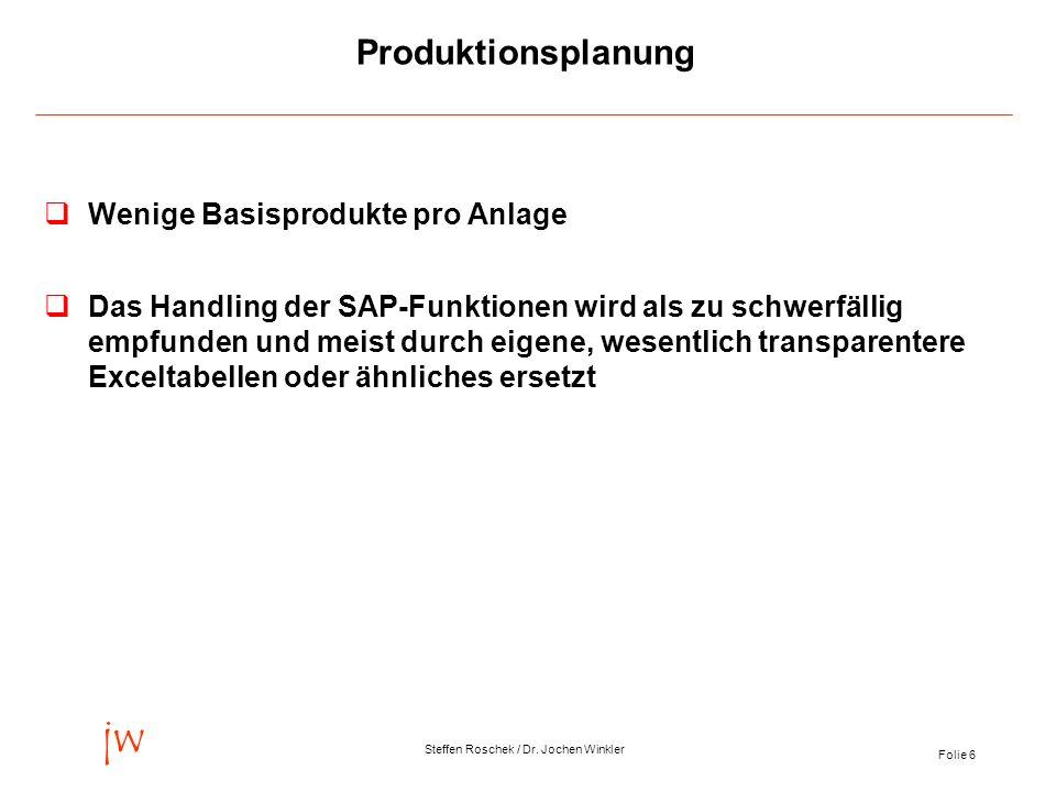Produktionsplanung Wenige Basisprodukte pro Anlage