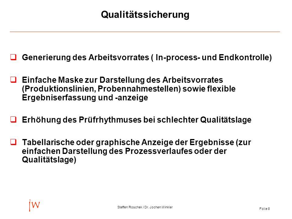 Qualitätssicherung Generierung des Arbeitsvorrates ( In-process- und Endkontrolle)