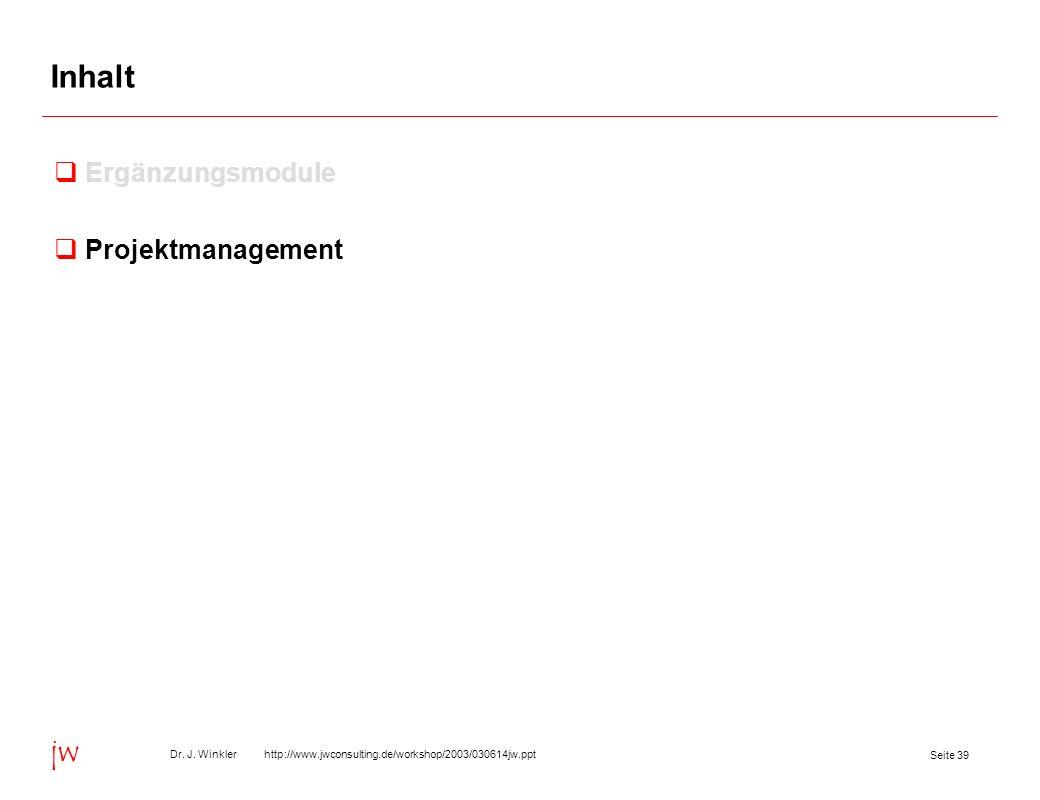 Inhalt Ergänzungsmodule Projektmanagement