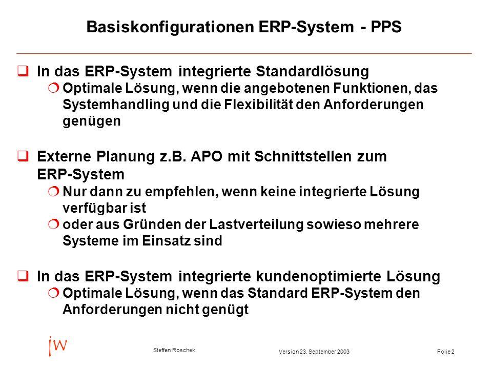 Basiskonfigurationen ERP-System - PPS