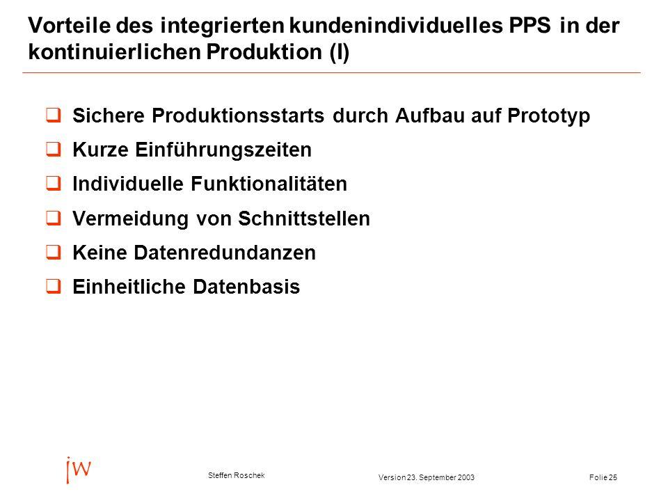 Vorteile des integrierten kundenindividuelles PPS in der kontinuierlichen Produktion (I)