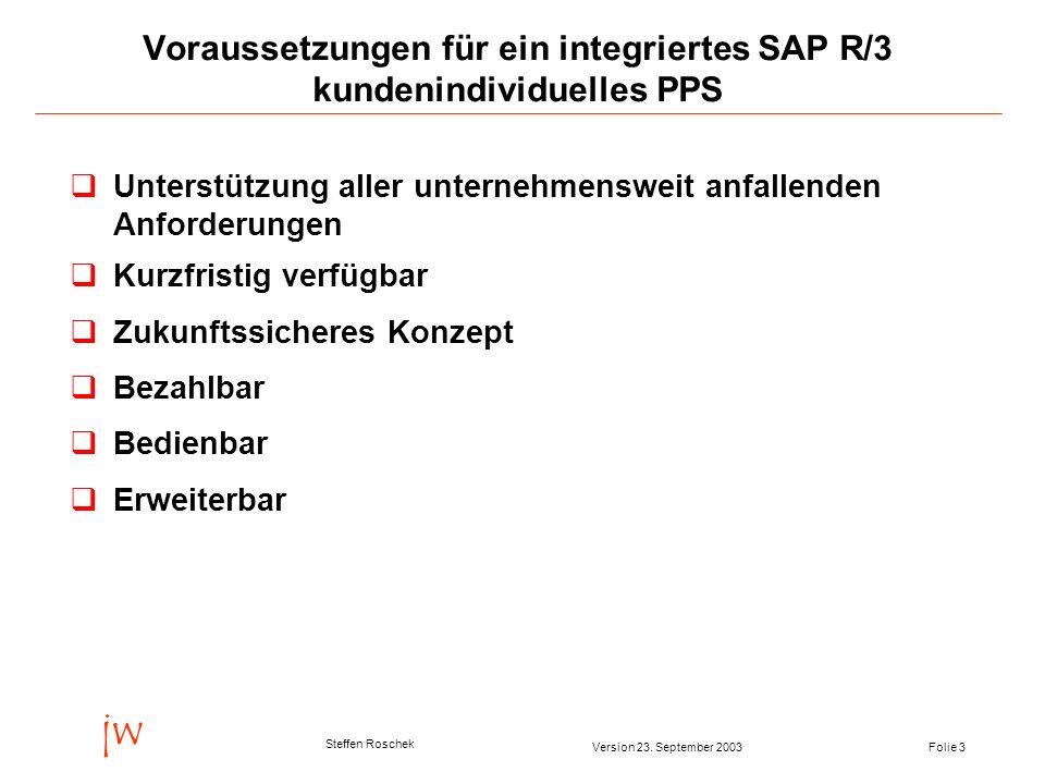 Voraussetzungen für ein integriertes SAP R/3 kundenindividuelles PPS