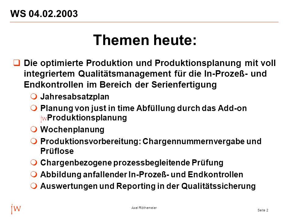 WS 04.02.2003 Themen heute: