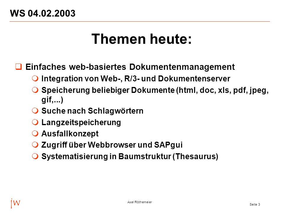 WS 04.02.2003 Themen heute: Einfaches web-basiertes Dokumentenmanagement. Integration von Web-, R/3- und Dokumentenserver.
