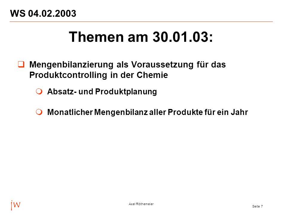 WS 04.02.2003 Themen am 30.01.03: Mengenbilanzierung als Voraussetzung für das Produktcontrolling in der Chemie.