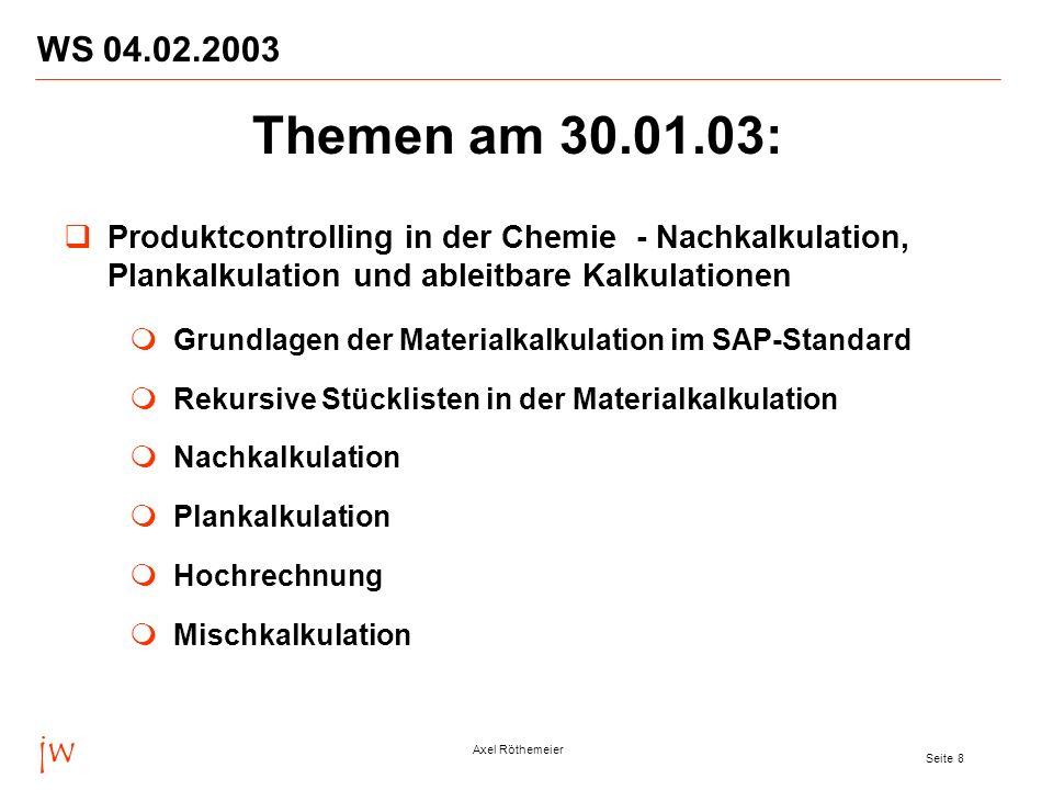 WS 04.02.2003 Themen am 30.01.03: Produktcontrolling in der Chemie - Nachkalkulation, Plankalkulation und ableitbare Kalkulationen.