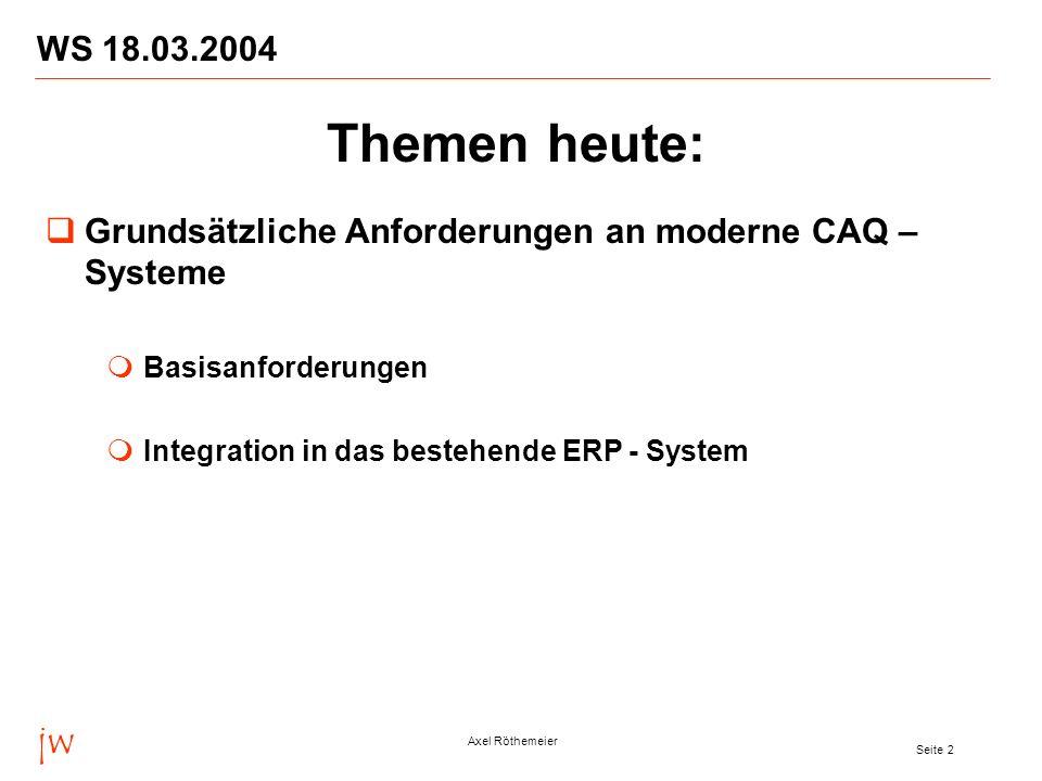 WS 18.03.2004 Themen heute: Grundsätzliche Anforderungen an moderne CAQ –Systeme. Basisanforderungen.