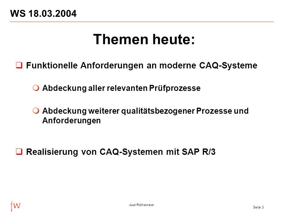WS 18.03.2004 Themen heute: Funktionelle Anforderungen an moderne CAQ-Systeme. Abdeckung aller relevanten Prüfprozesse.
