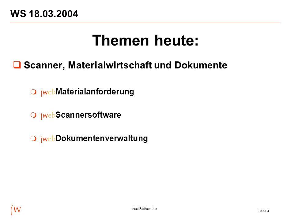 WS 18.03.2004 Themen heute: Scanner, Materialwirtschaft und Dokumente. jwebMaterialanforderung. jwebScannersoftware.