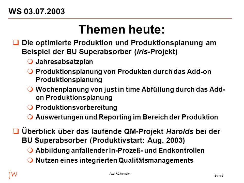 WS 03.07.2003 Themen heute: Die optimierte Produktion und Produktionsplanung am Beispiel der BU Superabsorber (Iris-Projekt)