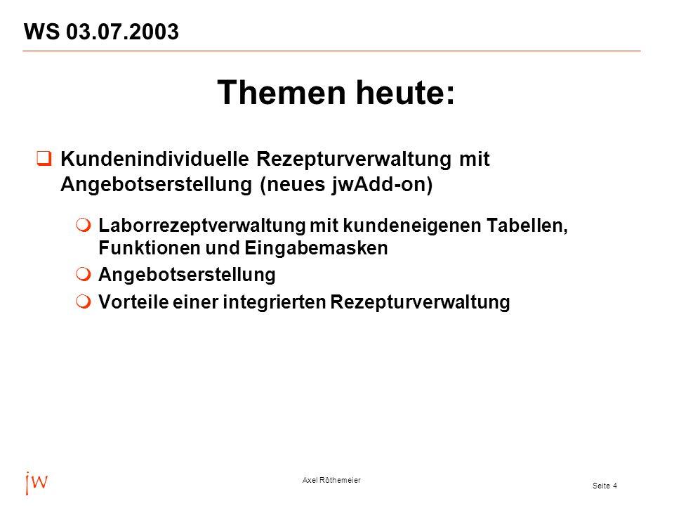WS 03.07.2003 Themen heute: Kundenindividuelle Rezepturverwaltung mit Angebotserstellung (neues jwAdd-on)