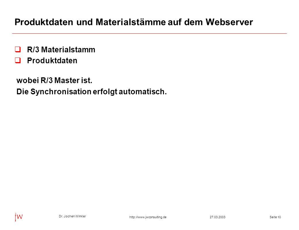 Produktdaten und Materialstämme auf dem Webserver