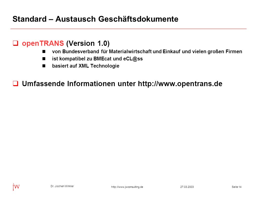 Standard – Austausch Geschäftsdokumente