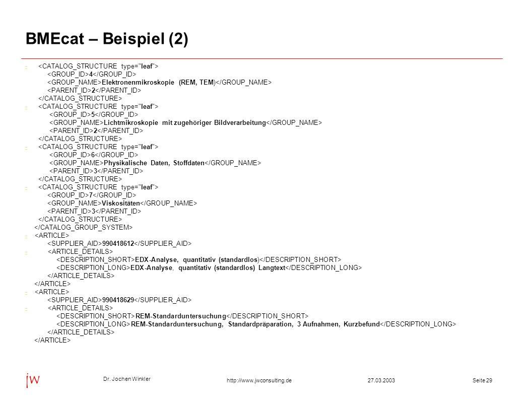 BMEcat – Beispiel (2) - <CATALOG_STRUCTURE type= leaf >
