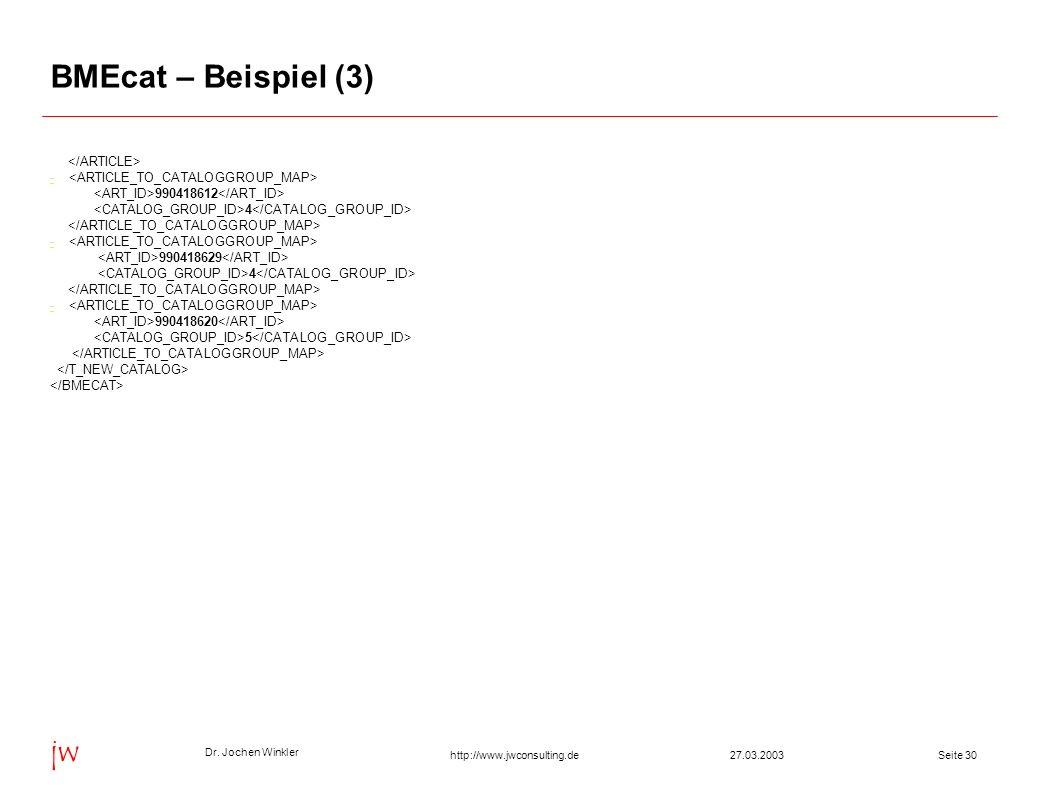 BMEcat – Beispiel (3) </ARTICLE>