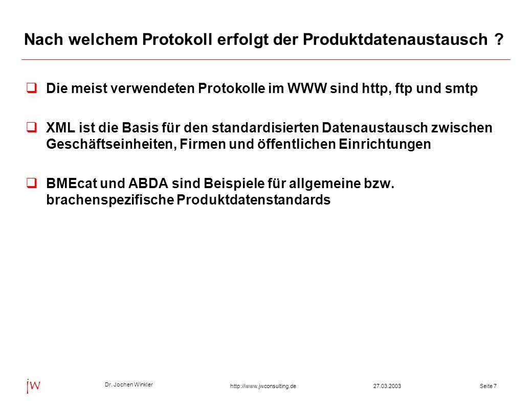 Nach welchem Protokoll erfolgt der Produktdatenaustausch