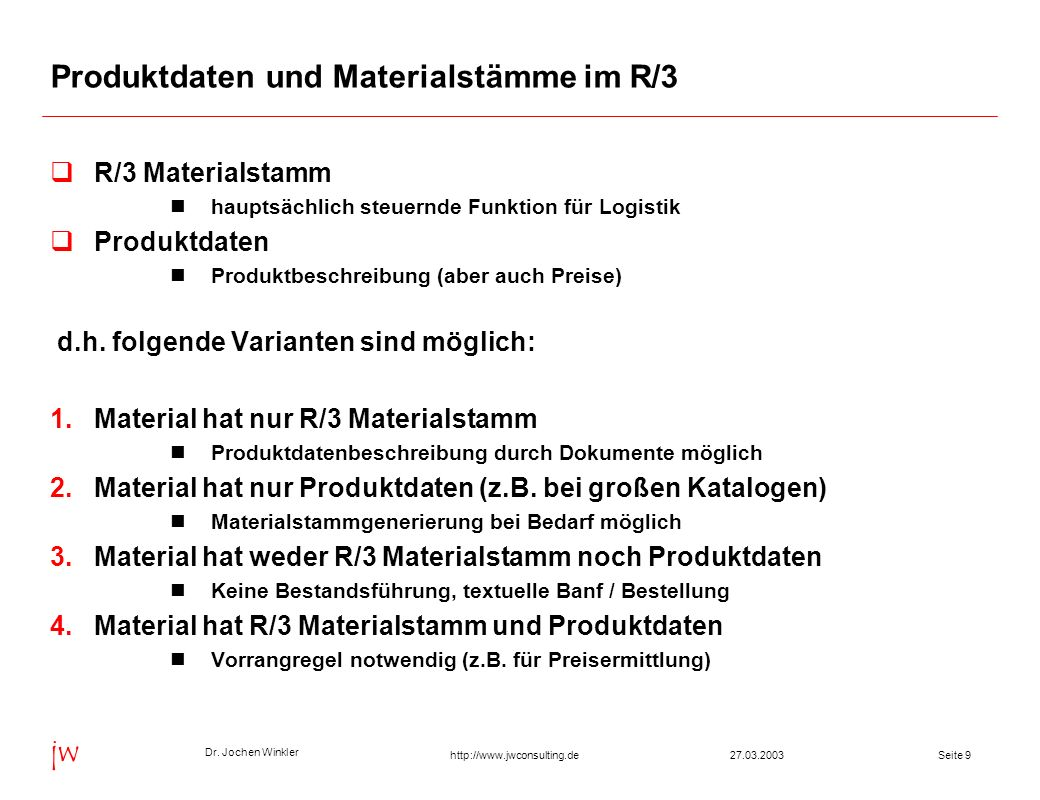 Produktdaten und Materialstämme im R/3