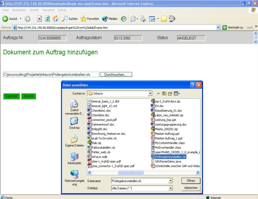 Zugriff vom Webserver – Dokumente hinzufügen
