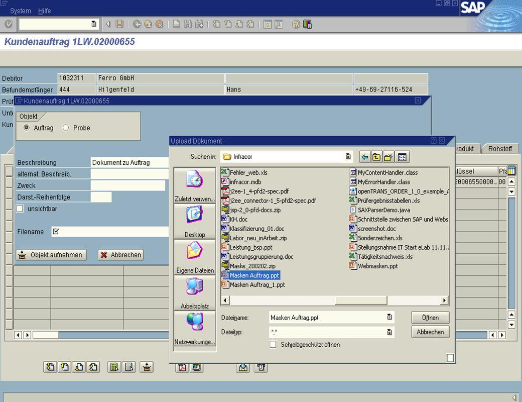 Zugriff vom SAP R/3 – Hinzufügen neuer Dokumente