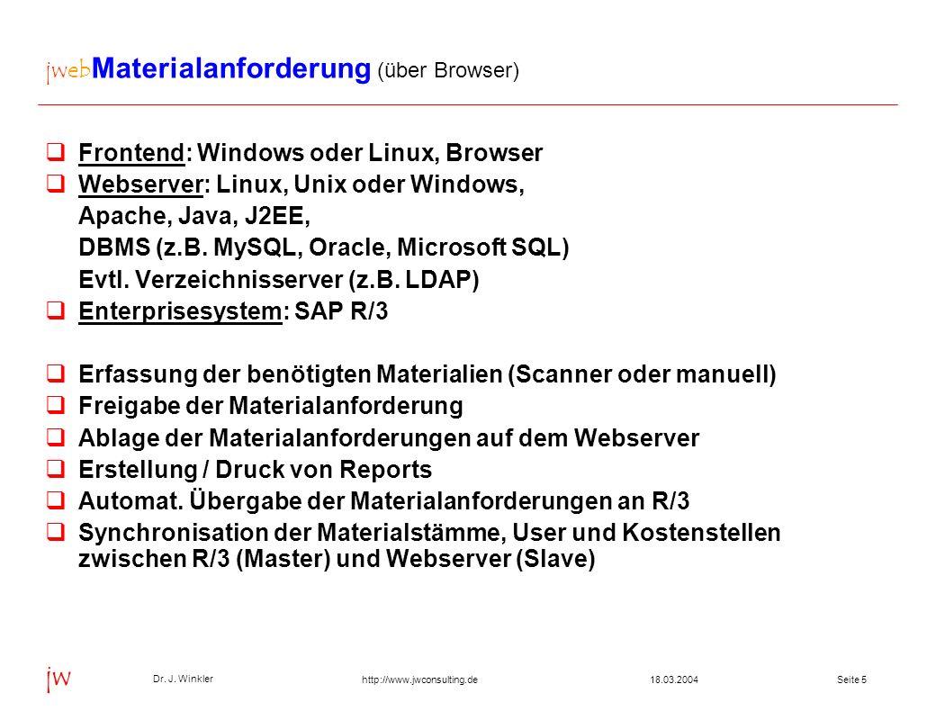 jwebMaterialanforderung (über Browser)